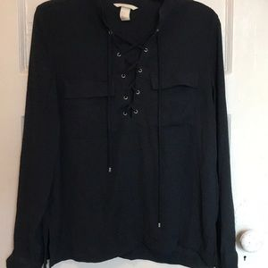navy lace up blouse